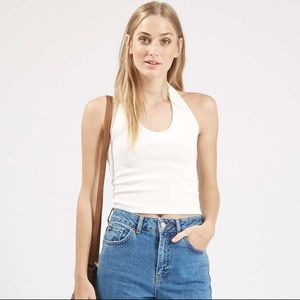 Topshop ribbed halter crop top